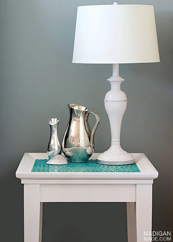 Glass gem tiled table DIY makeover (part of the Summer Tour of Homes with The Shabby Creek Cottage)