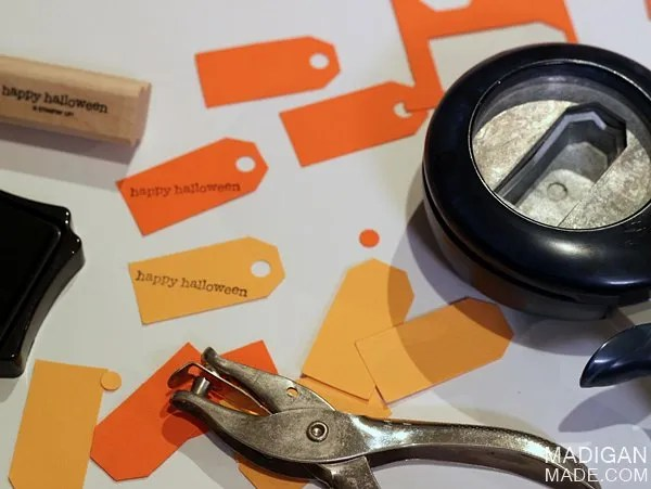 Make tags for Halloween goody bags