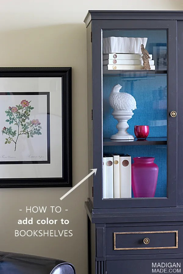 Easy idea to add color to back of china cabinet or bookshelf