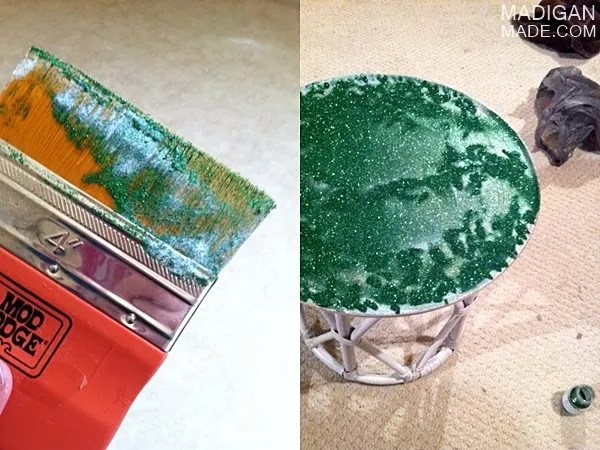 how to decoupage glitter to a table