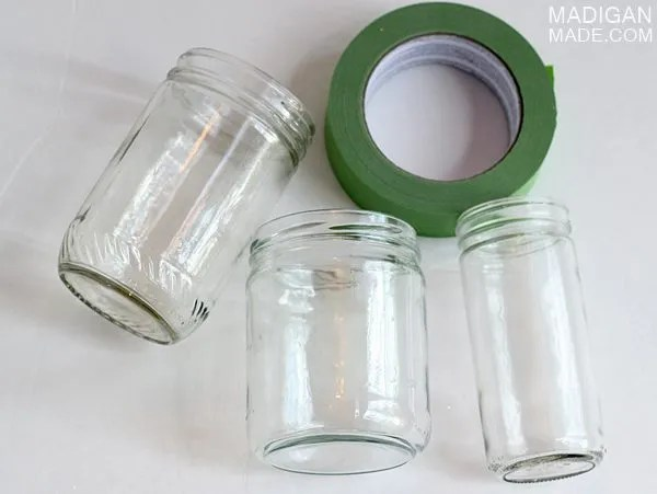 how to paint jars with glitter - supplies