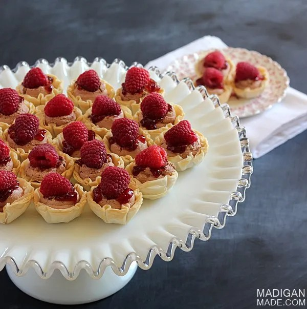 Mini Chocolate Raspberry Dessert Bites - these would be perfect for a brunch or bridal shower