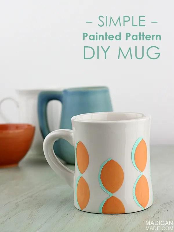 Simple and modern painted ceramic mug