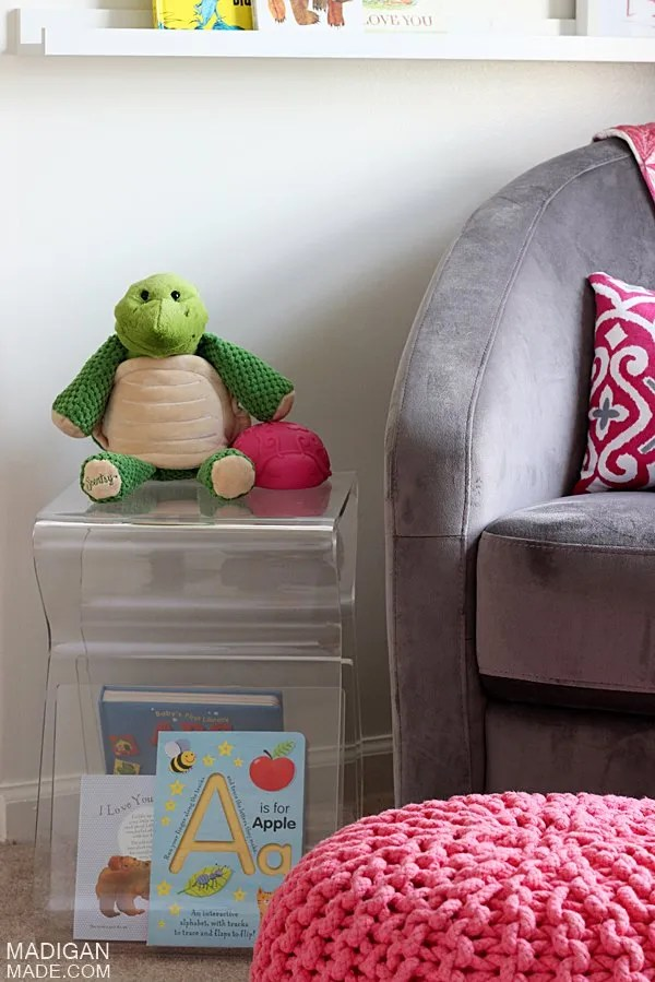 nursing glider and side table idea for baby's room