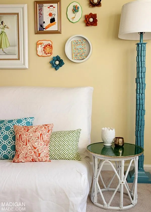 orange, green and blue decorated space