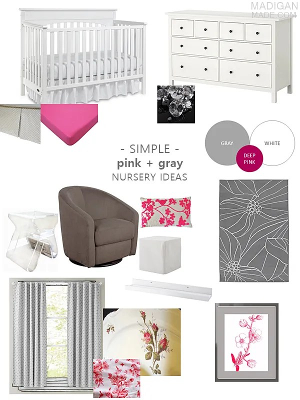 pink and gray vintage and modern nursery decor ideas