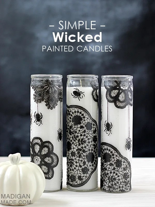 Simple pretty (yet wicked) painted glass candles