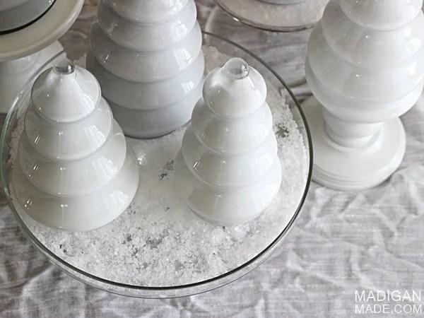 use salt as snow for an easy winter decor idea