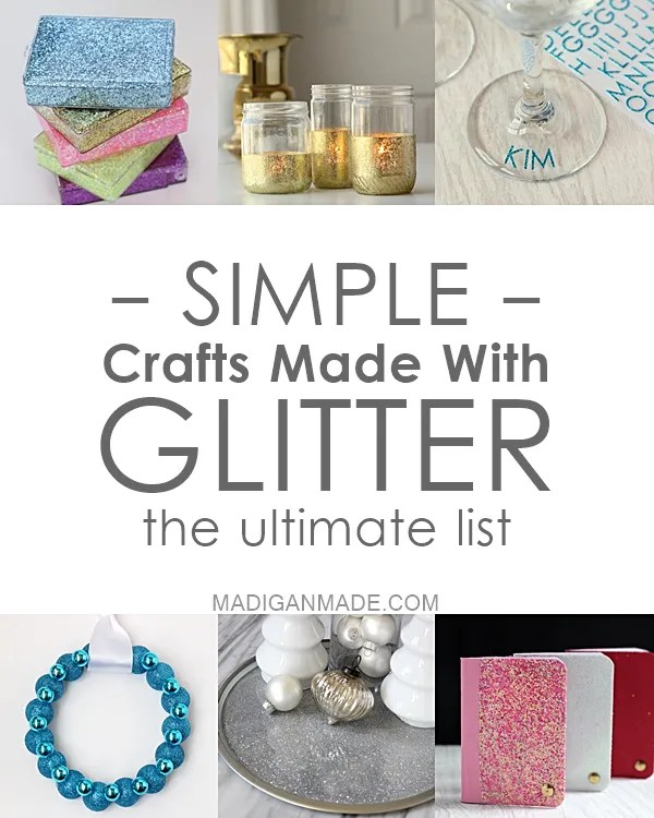 Simple DIY glitter crafts. Love this list of 18 awesome and sparkly projects