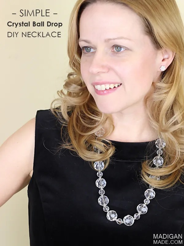 Simple DIY Crystal Ball Drop Necklace - this would be perfect for New Years Eve or any night out!