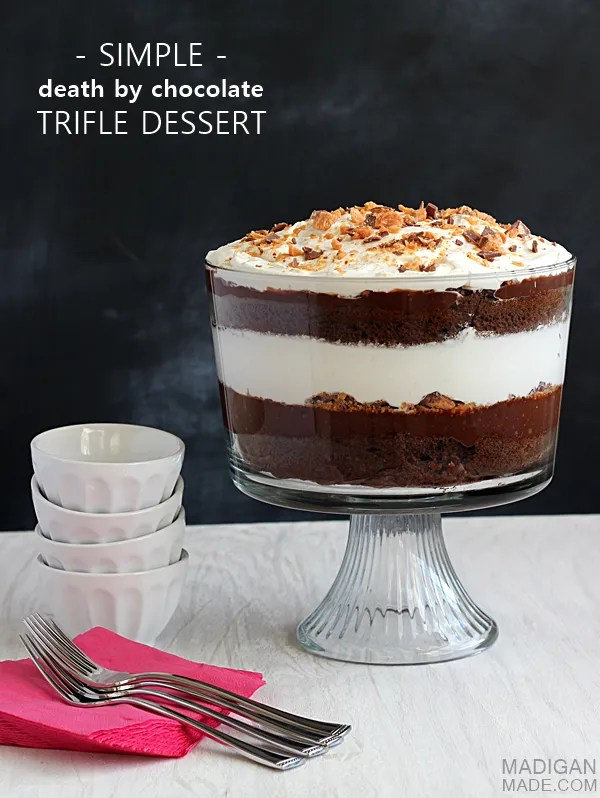 Simple 'death by chocolate' trifle dessert. This looks amazing and I love how easy it is to make!