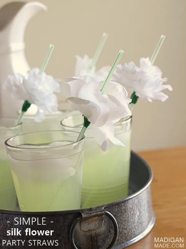 DIY Artificial Silk Flower Party Straws