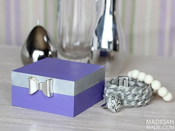 DIY trinket or jewelry box with bow detail.