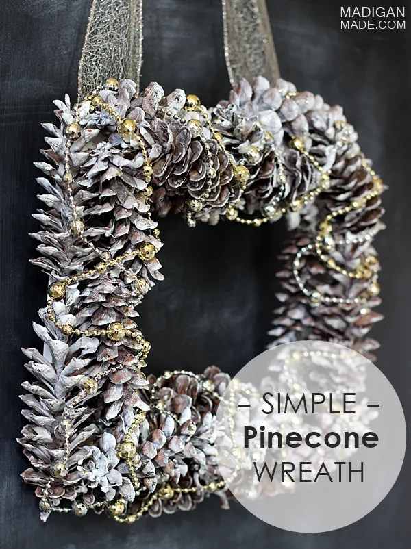 How to make a simple silver and gold pinecone wreath