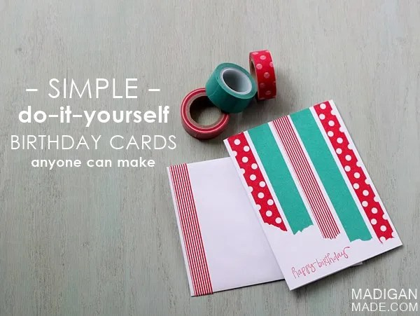 Outstanding The Simplest Diy Washi Tape Cards Rosyscription Funny Birthday Cards Online Fluifree Goldxyz