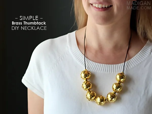 DIY necklace from thumbtacks and brass hardware