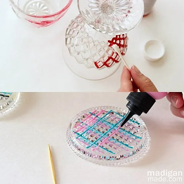 glass paint tips: use toothpicks and cotton swabs