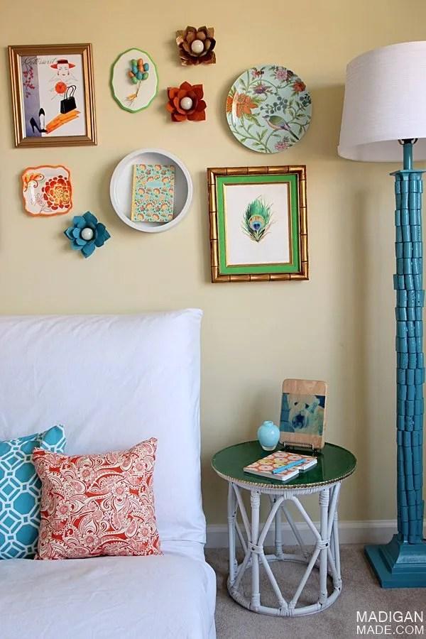colorful vintage gallery wall DIY ideas