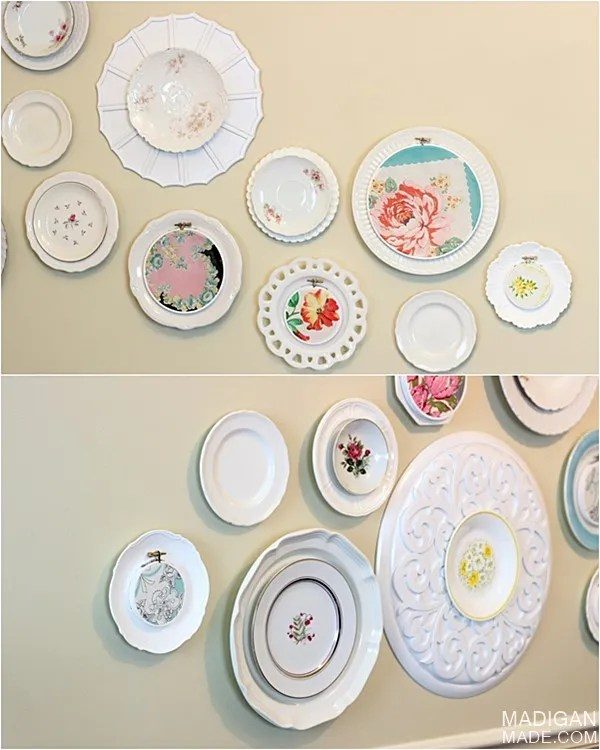 DIY art made from vintage plates, fabric and ceiling medallions