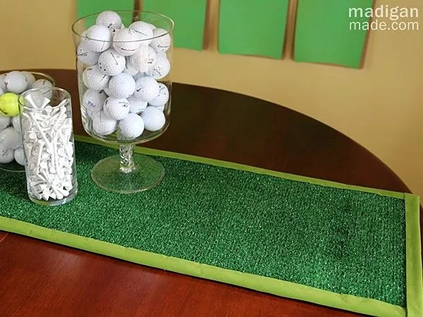 Astroturf table runner DIY