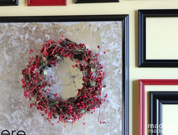 berry wreath on a frame - part of the holiday home tour at madiganmade.com