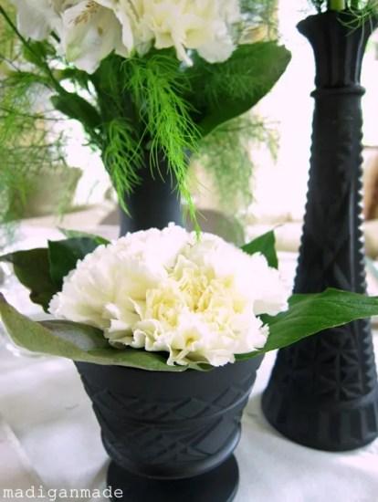 Black White Floral Centerpieces Bridal Shower Idea