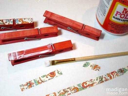 Mod Podge clothespins craft