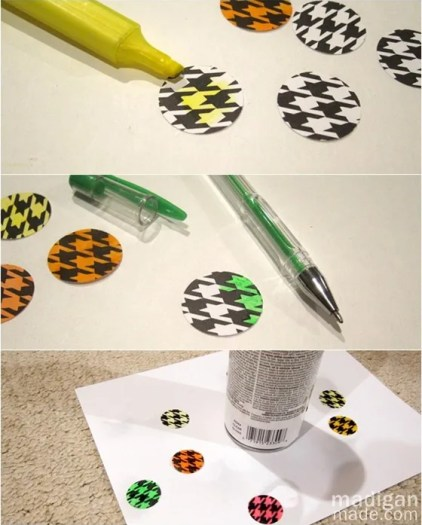 color in black and white paper to make neon patterns