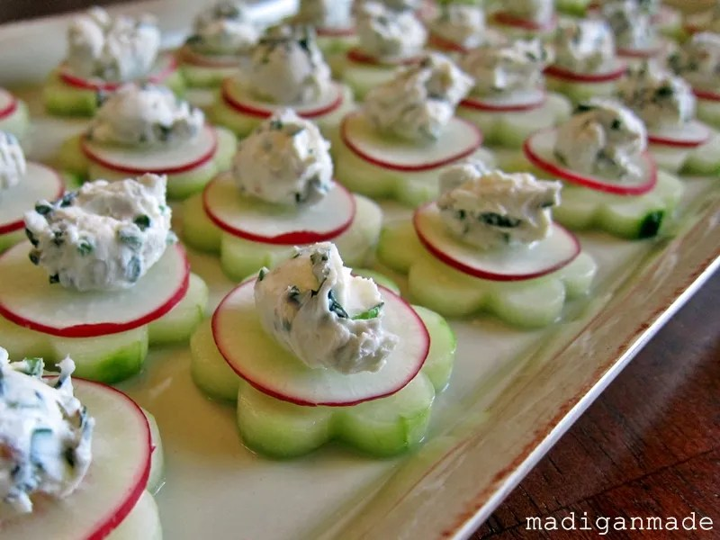 Garden fresh herbed cucumber flower bites rosyscription for Cheap wedding canape ideas