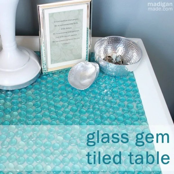 blue glass gem table