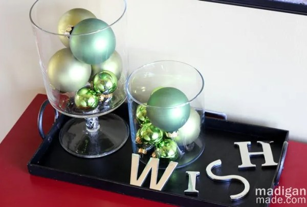 vases of green ornaments - part of the holiday home tour at madiganmade.com