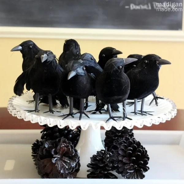 dollar store blackbirds centerpiece for Halloween