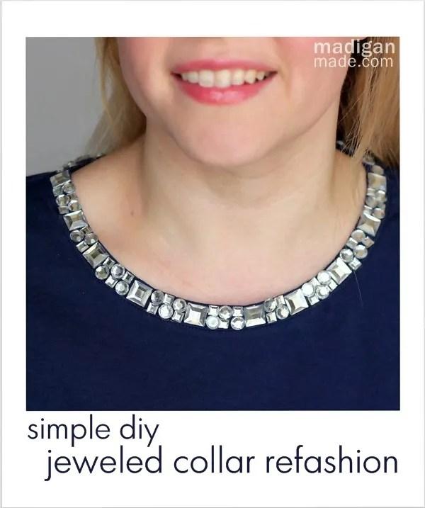 DIY jeweled collar refashion craft at madiganmade.com