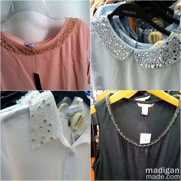 Jeweled neckline fashion trend