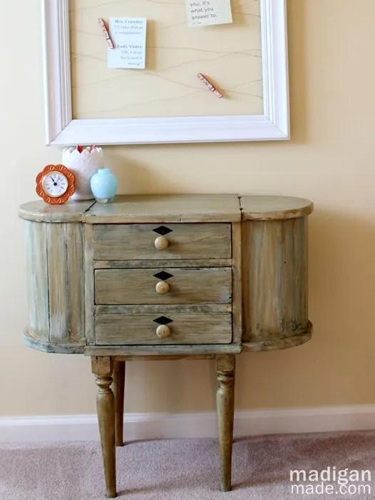 vintage martha washington sewing table distressed green