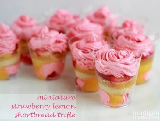 mini strawberry lemon desserts in shot glasses