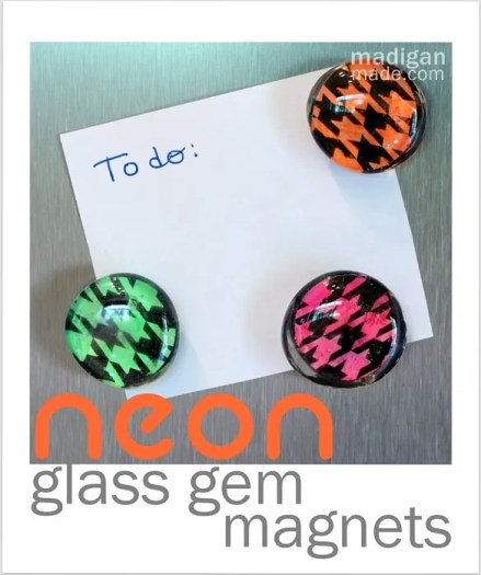 glass gem magnets in bright colors