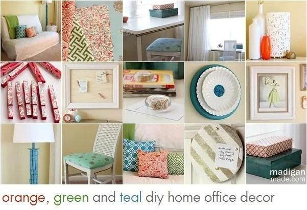 orange, green and blue diy office decor ideas