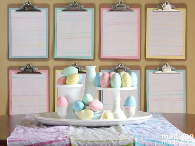 Chalk and pastel Easter centerpieces | madiganmade.com