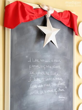 mini bunting and a patriotic quote