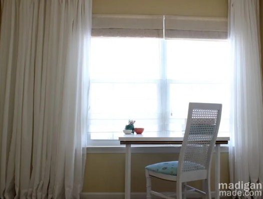 Simple white IKEA desk and curtains - madiganmade.com