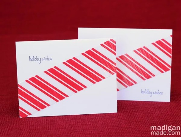 candy cane striped handmade card