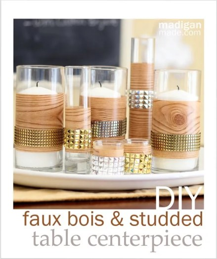 Easy DIY Studded Faux Bois Fall Centerpiece Craft - madiganmade.com