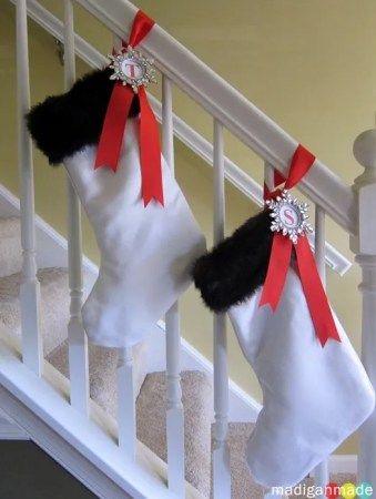 Christmas stockings from wedding dress