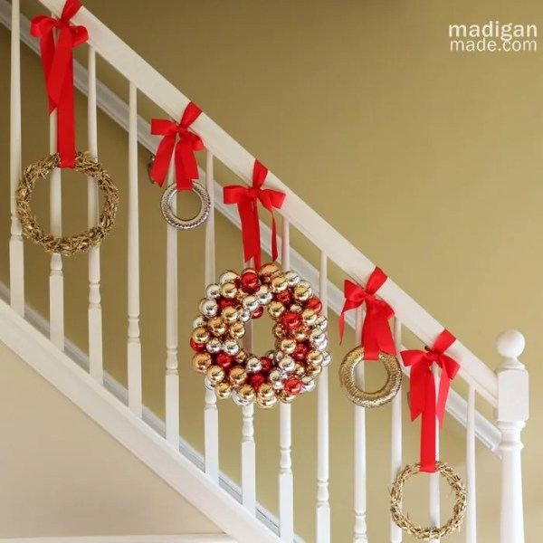 Decorating a staircase for the holidays rosyscription for Hang stockings staircase