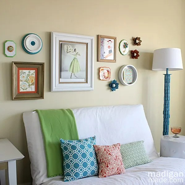 Office decor with colorful floral gallery wall (part of the Summer Tour of Homes with The Shabby Creek Cottage)