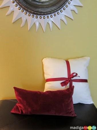 diy pillow with ribbon