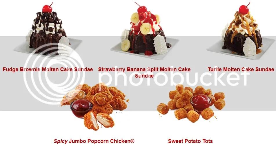 Sonic, America's Drive-In Sweet Potato Tots, Spicy Jumbo Popcorn Chicken, and Molten Cake Sundae