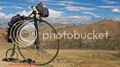 Touring Tibet on a high wheeler