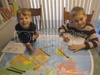 Our mapwork on the dining room table.